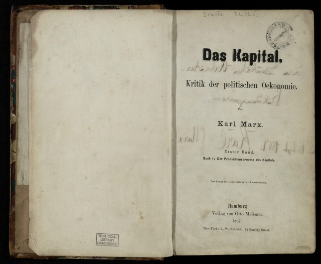 Title page to Das Kapital, volume 1
