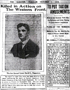 Newspaper clipping from 1918