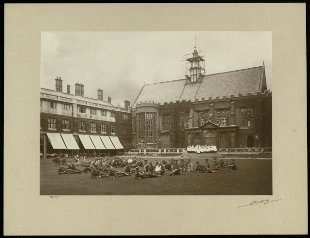 Nevile's Court with soldiers reclining on the grass