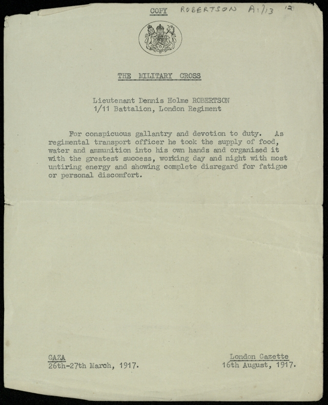 The letter accompanying Robertson's Military Cross.
