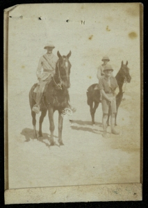Robertson on horseback in the desert. (Robertson A1/13)
