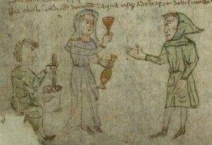 Female doctor with assistant and patient, f. 29v