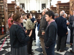 The reception for the book launch, hosted in the Wren Library.