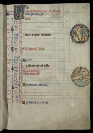 Kalendar page from B.11.4 showing illuminated roundels and rubrication.