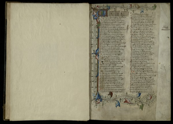 The opening of Chaucer's Canterbury Tales, making the link between April and pilgrimage. Trin MS R.3.3, f.1r