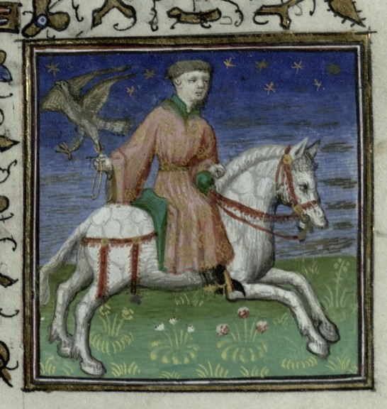A man on horseback holds a falcon. Trin MS B.11.31, f. 5r