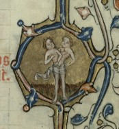 Gemini represented as two upper bodies sharing a pair of legs. Trin MS B.11.7, f. 3r.