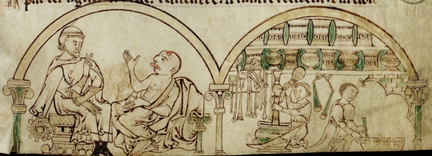 Left, Damage to the Cerebral Membrane. Right, View of Dispensary. (f. 240r)