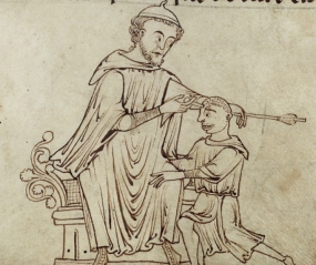 A surgeon pulls an arrow from a man's head. f. 248r