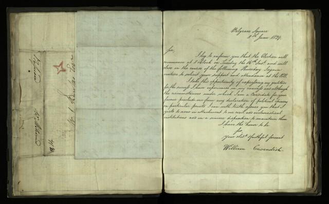 Circular letter from William Cavendish, 8 June 1829 [R.1.76, item 11]