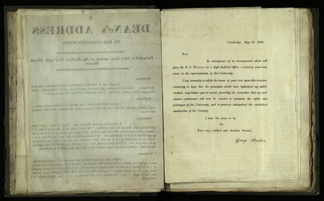 Printed circular letter from George Bankes to William Whewell, 29 May 1829