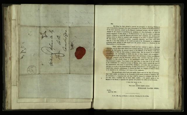 Printed circular letter from William Yates Peel, 25 April 1831 [R.1.76, item 48]