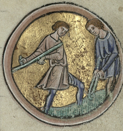 Wheat harvest. Trin MS B.11.4, ff.iv recto.