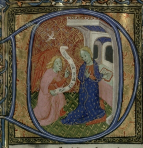 Historiated initial with an Annunciation scene, immediately following the Kalendar pages, Trin MS B.11.7, f.7r