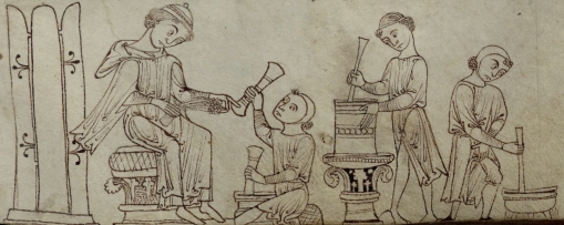 Illustration of the Dispensary, accompanying a receipt for an ointment to treat fistula. f.272r.