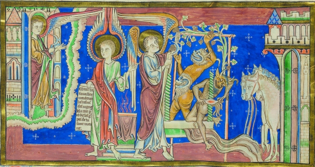 Angels and demons making wine, Trinity Apocalypse (Trin MS R.16.2, f.17r)