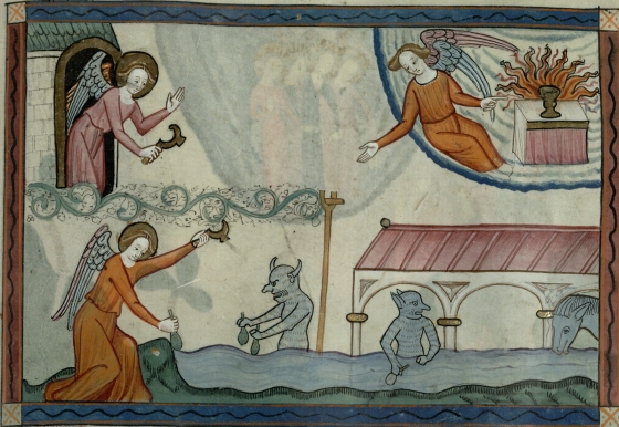 Angels harvesting grapes, demons in the grape juice. Trin MS B.10.2, f.29r.
