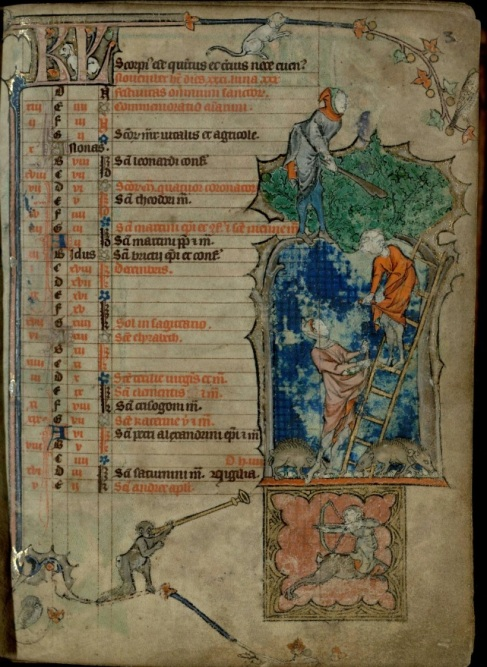 The November Kalendar page from Trin MS B.11.22.