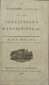 Title-page of W H Ireland's published confession of his Shakespeare forgeries