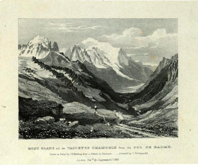 Mont Blanc seen from Chamonix, from Narrative of an Ascent to the Sumhmit of Mont Blanc (London, 1828), by John Auldjo, a Canadian-born student at Trinity College who became a noted Alpinist.