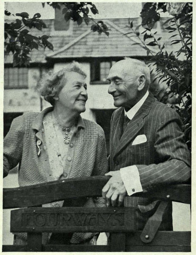 Lord and Lady Pethick-Lawrence at the gate of their Surrey home in 1949.
