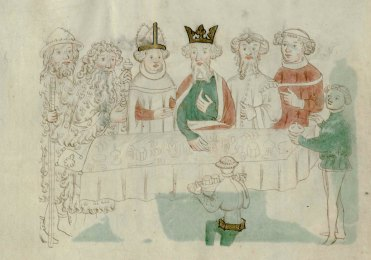 Day 19_Feasting scene from the Life of Edward the Confessor (B.10.2, f.42v)