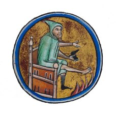 Day 1_Man warming his feet by the fire from a 13th-century Psalter (B.11.4, f.i verso)