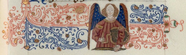 Day 22_An angel from the border of a 15th-century Book of Hours (B.1.46, f.19r)