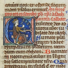 Day 3_Illuminated initial with David playing bells from a 13th-century Bible (B.10.24_f349r)