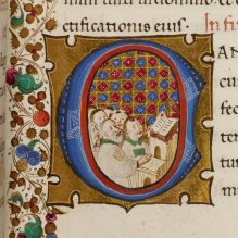 Day 8_Miniature of clerks singing from a 15th-century Psalter (O.7.46, f.87r)