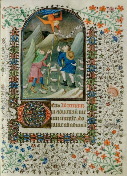 Day 9_Shepherds and an angel from a 15th-century Book of Hours (B.11.19, f.55r)