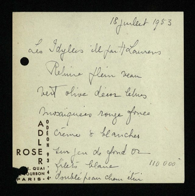 Image of notes in Rose Adler's hand