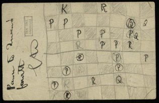 RCT/2/105-back: Postal game of chess played by Robert with Goldsworthy Lowes Dickinson