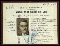 RCT/23/1: Robert Trevelyan's identity card for the Friends' War Victims Relief Committee.