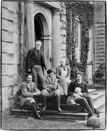 RCT/42/9: Photograph c.1896 of the three brothers with their parents (L to R: Charles, George, Robert).