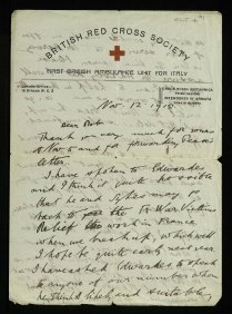 RCT14/101-front: Letter from George to Robert written just after the end of the war while he was still working for the Ambulance Service.